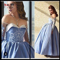 art deco collection - 2017 New Collection Arabic Style Dust Blue Formal Evening Dresses Illusion Long Sleeve Beaded Ball Gown Prom Gowns
