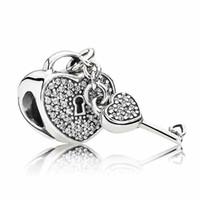 al por mayor pandora cuentas amor-Auténtico 925 Sterling Silver Bead encanto corazón llave de bloqueo con cuentas de cristal colgante aptos mujeres Pandora pulsera DIY Joyería HK3625