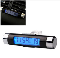 Wholesale 2 in Car Thermometer Time Clock Mounted On Air Vent Outlet Digital LCD Display Screen Auto Accessories