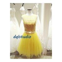 achat en gros de robes d'été jaune pour pas cher-Real Photos Robes de demoiselle d'honneur jaune Tulle avec des paillettes Top Lace-up Retour genou-Longueur des robes de soirée de mariage Cheap New Arrival 2017 Summer