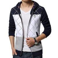 atmosphere hoodies - mens hoodies New winter atmosphere stitching badge decoration design fashion casual Slim zipper hooded sweatshirt Plus size XL