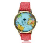 Cheap 2017 World Map plane needle watches Women men wear cowboy canvas with leather Roman quartz watch gift