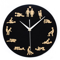 Wholesale 2016 New Modern Sex Position Clock Novelty Silent Wall Clock For Wedding Lover Sexual Culture Wall Watches Home Decor