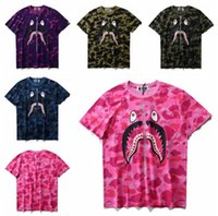 Wholesale Men s Camouflage Shark Print Short Sleeve Men Women s Loose Big Circle T Shirt