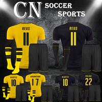 Wholesale 1617 Dortmund kit socks Home YELLOW Soccer Jerseys Kit Hot Soccer Uniforms REUS AUBAMEYANG KAGAWA Football Shirts and Shorts
