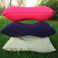 Wholesale 3 Colors Outdoor Portable Folding Air Inflatable Pillow Double Sided Flocking Cushion for Travel Plane Hotel Sleep Pillow WA1455