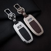achat en gros de cuir de couverture clé audi-Alliage de zinc de haute qualité + étui en cuir pour voiture Audi A8 A6L A4 A4L Q7 Q5 Le plus récent caisse de voiture Porte-clés protégé