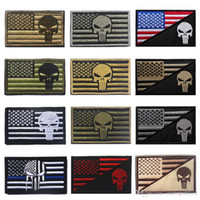 Wholesale 50 US Flag The Punisher Blue line D ARMY Embroidered Applique Patch Tactical Hook Loop Military Morale Badge