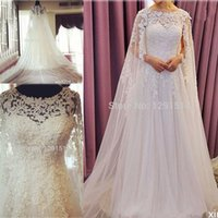Wholesale China Made Dresses For Sale - Elegant Wedding Dresses with Wrap Long Cathedral Tail Lace Beading Tulle Bride Dress for Sale vestido de noiva made in china Bridal Gowns