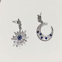 auger filling - Purple diamond earrings Silver earrings The stars the moon shape Asymmetric Set auger Earrings silver needle Fashion