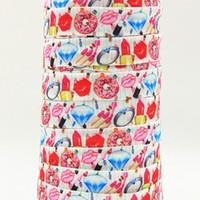 achat en gros de rouleaux de ruban ennemi-Ruban gros / OEM 5 / 8inch 16mm 161124006 bijoux et rouge à lèvres imprimé plié sur FOE élastique 50yds / rouleau de livraison gratuite