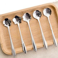 Wholesale 5Pcs Tableware Flower Shape Sugar Stainless Steel Silver Tea Coffee Spoon Teaspoons Ice Cream Flatware Kitchen Tool