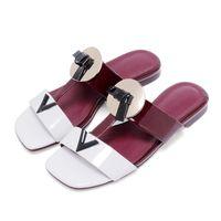 adhesive fabric letters - New Arrival Brand Designer Patch Worker Women Slippers Sandals Shoes Letter V Metal Deco Female Flat Flip Flops Slides S36