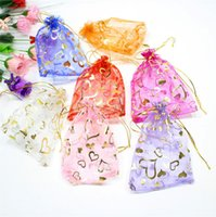 Wholesale 100pcs cm cm cm love heart Yarn bag Organza Bags with Drawing String for jewelry packing bags pounch gift bags