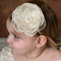 Filles bandes de cheveux enfants stéréo fleur filet fils accessoires bébé filles perle de cristal coiffure photographie coiffure T06012