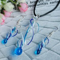 Earrings & Necklace american pipe threads - 2017 new Threaded pipe type glass necklaces earrings suit The European and American fashion jewelry pendant necklace jewelry