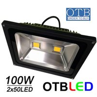 Wholesale 100W LED flood light x50W LEDS AC85 V V Ip65 waterproof Floodlights bright outdoor lighting DHL shipping Free