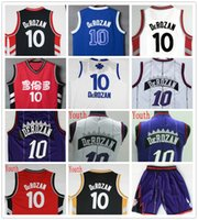 Wholesale Mens Youth DeMar DeRozan Jersey Cheap Sale New Blue Red Gold Black White Purple Stitched Basketball Jersey