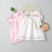 al por mayor niña de la colmena blanca-Everweekend niñas florales bordados volantes de algodón vestido de encaje de manga dulce vestido rosa y blanco
