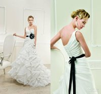best wedding cakes - Sell like hot cakes Best Quality One shoulder A line Organza Flouncing Tiered Court Train Ribbon Sash Wedding Dresses