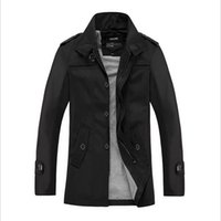 Wholesale Autumn new men jacket Solid single breasted mens long trench coat Slim business windbreaker thin coat