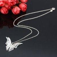 Wholesale Silver plated hollow out pointed butterfly necklaces mom pendant hot style of foreign trade sources women jewelry