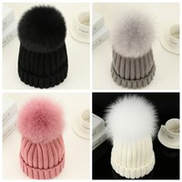 Wholesale 2016 New Winter Women Real Fox Hat with Thick Woolen Knitting Beanies Ski Cap Russian European Styel Hats with Pom Pom Hats for Girls