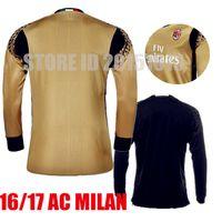 Wholesale 2016 Long AC Milan Goalkeeper Soccer Sets Gianluigi Donnarumma Gabriel Black Gold Goalie AC Milan Jerseys Full Football Shirts Kits