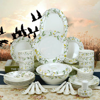 Wholesale 46 Pieces Rural Gold Edge Ceramics Dinnerware Sets Bowls Spoon Plant Bong China Porcelain in glaze Decoration Gift