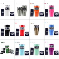 Wholesale 2017 colorful yeti tumbler oz oz oz Bilayer lens Cups With Lid Cars Beer Mug Large Capacity Mug coolers Stainless steel Mugs