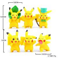 Vente en gros 6pcs / set 4.5cm Cartoon Pocket Pikachu Pokémon Figurines d'action Poke Mini Anime Fashion Cartoon Toys Cadeaux de Noël