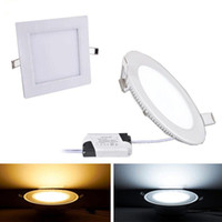 cuadrado de la lámpara led al por mayor-2017 Dimmable 3W 9W 12W 15W 18W 21W CREE Led Empotrable Downlights Lámpara Caliente Natural Cool Blanco Super-Delgado Led Panel Lights Round Square