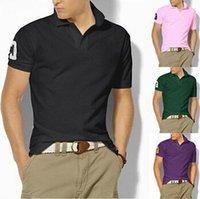 Wholesale Top quality men s fashion polos short sleeve shirt mens brand casual shirt Quick drying T shirt mens golf shirt cotton big horse