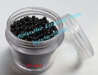 Wholesale silicone Nano ring for Hair Extensions copper micro rings mm nano beads Smallest silicone Nano rings links Black