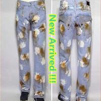 Wholesale Light Brown Coat Male - 2017 Fashion Brand Robin Men denim trousers straight slim designer jeans Male Pants W30--W42 Plus Size Hot Sale LS-4 Free Shipping