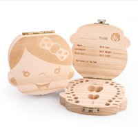 Wholesale Tooth Box organizer for baby save Milk teeth Wood storage box great gifts YEARS creative for kids Boy and Girl image