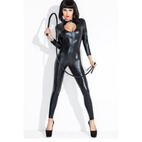 Wholesale Catsuits Hot Sexy - Hot Sexy Lady Black Leather Latex Catsuits Low Cut With Zipper Open Crotch Elastic Wetlook Bodysuit Bar Clubwear W377794