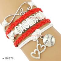 achat en gros de j'aime bracelets-(10 pièces / lot) Infinity Love J'aime Baseball Soccer Softball Tennis Football Bracelet Coeur à coeur Bracelet charme Bracele en cuir personnalisé