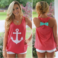 anchor blouse - Fashion Tops Women Sleeveless Anchor Back Bow T Shirt Backless Vest Tank Tops Blouse Tanks Camis Tops Tees Women s Clothing Apparel Co