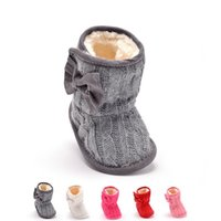 animal print fleece fabric - Baby Girl Warm Walkers Shoes Knit Bowknot Faux Fleece Snow Boot Soft Sole Kids Wool Baby Shoes M