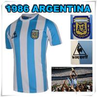argentina gifts - 1986 World cup Argentina Retro Soccer Jerseys Maladona Champion Shirts o camisetas de futbol Hot Sale Stitched Gift souvenir HOT