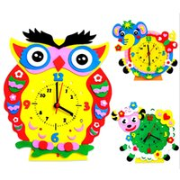 Vente en gros - 1Set Handmade Clock Toy DIY 3D Animal Learning Clock Kids Crafts Educational Handwork Toy Creative Capability Training