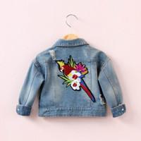Wholesale 2017 Spring New Baby Girl Jacket Back Parrot Embroidery Denim Long Sleeve Coat Children Clothing