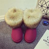 australia shops - 2016 Shop Cheap Australia Hot Sale Cute Winter women s Felt Hair Flat Ankle Snow Boots with Faux Fur Outside for Women femininas