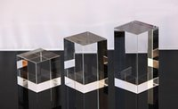 Wholesale modern made yourself design No Inlay Room Keepsake square box custom size glass squareSouvenir officer carved K9 crystal white preform body