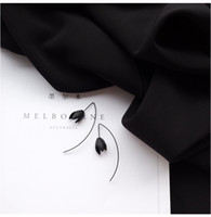 Wholesale Sketch huaguduo D words Goethe ink black wind characteristics section is not the same GIRL earrings ear wire earrings