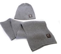 Wholesale HXF set black gray white brown Khaki men women warm wool VV hat knitted Hats Scarves Sets cm