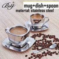 Wholesale European style stainless steel fashion coffee cup set double layer stainless steel cup dish spoonfuls birthday brief gift