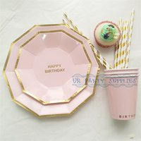 bamboo disposable plate - Sets Disposable Pink Tableware Happy Birthday Foil Gold Hexagon Paper Plates Paper Cups for Baby Shower