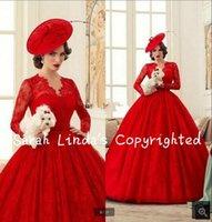 al por mayor vestidos formales victorian-Los vestidos de boda largos superventas del cordón rojo del Victorian se visten Vestidos De Novia
